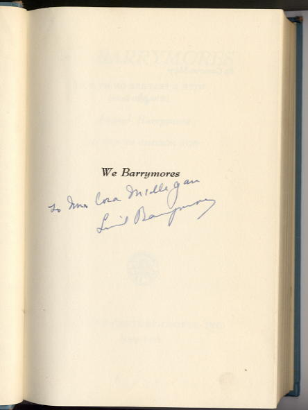 Barrymore, Lionel - signed book